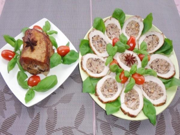 Thịt thăn lợn nhồi nấm hương