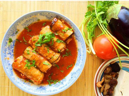 cà tím cuộn thịt đậu phụ sốt cà