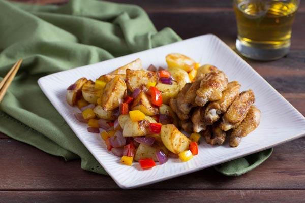 cánh gà chiên, khoai tây
