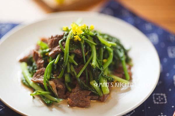thịt bò xào ngồng cải