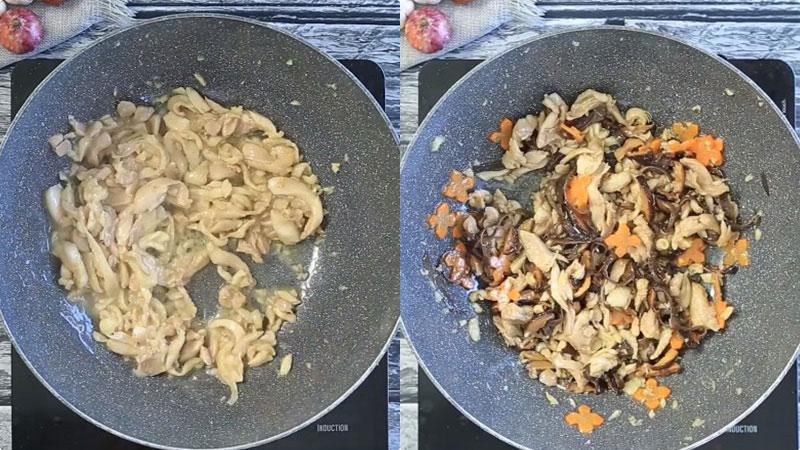 gà xào nấm hương